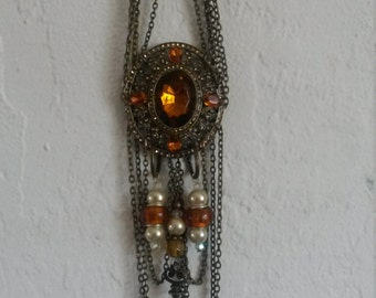 Bronze and Amber Victorian style necklace