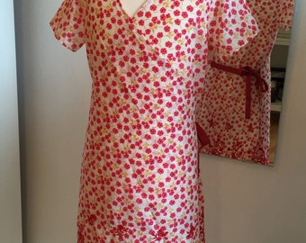 Wrap dress, light cotton, floral design, convenient, sundress, red, mustard yellow, red tape is white,