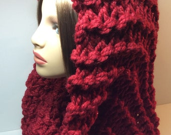 Hooded Mobius Scarves - Poinsettia Red Sparkle, Hand Knit, Wool/Acrylic Blend