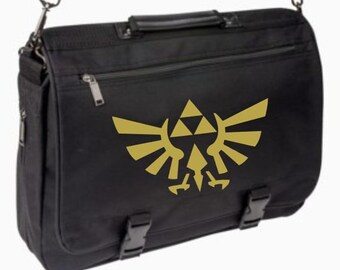 Legend of Zelda Triforce Messenger / Briefcase Bag - school / laptop / computer / book bag - Link - Can Be Personalized