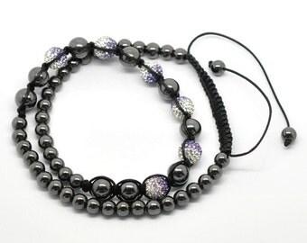 Hematite Beads White and Mauve Rhinestone Beads Adjustable Macramé Braided Necklace 24 Inches