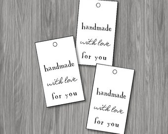 Printable Black And White Handmade With Love Tags for gifts -- Instant Digital Download