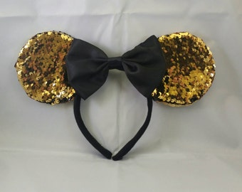 Gold/Black Color Changing Sequin Mickey Mouse Ears