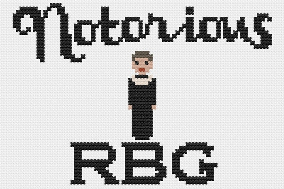 PDF Notorious RBG Cross Stitch Downloadable Digital