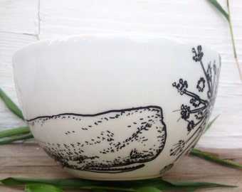 Grey Whale And Queen Anne's Lace Hand Drawn On White Bowl