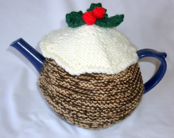Christmas tea cosy. Christmas pudding tea cosy. Christmas decoration. Large tea cosy. 4 cup tea cosy. Christmas ornament. Knitted tea cosy.