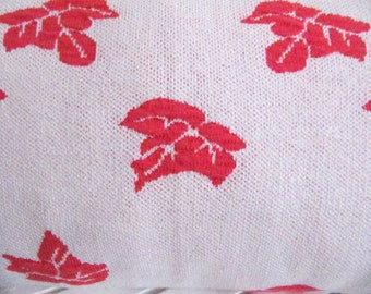 Fall Leaf Jaguard knitted Pillow Cover,Naturist Pillow Cover,Bright Scarlet and White Pillow cover,12'' x20'' (30cm x 50cm)Pillow Cover