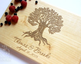 Personalized Cutting Board Tree Cutting Board Wedding Gift Engagement Gift Anniversary Gift Couples Wood Chopping Block Custom Family tree