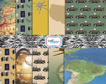 """World Travel Collection//300 DPI//10 Digital Sheets// Jpeg// 8.5"""" by 11"""""""