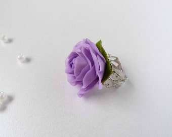 Lilac Purple Violet Rose Ring, Flower Ring, clay jewellery, Ring Floral, polymer clay flower, for her, bridal accessories, flower jewelry