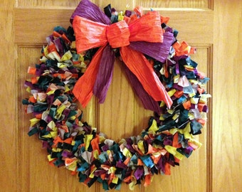 Festive Halloween Fabric Strip Wreath