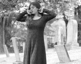Girl and Blossoms in a New England Cemetery in Infrared