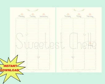 Cute Printable A5 Page - Printable Vertical Weekly Planner - Floral Theme Planner - Undated - No Date Stamp - Flower Planner -Weekly Planner