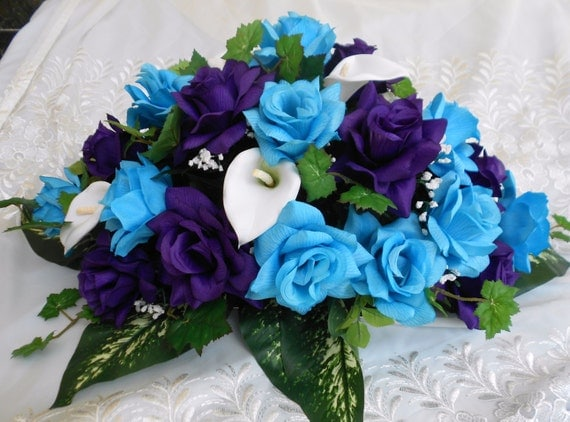 Large wedding bride table centerpieces royal purple blue and white