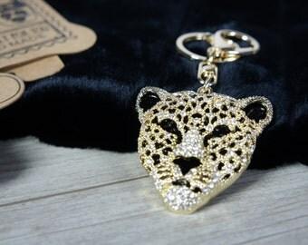 LEOPARD Tassel Rhinestone, Leopard key chain,  Key Chain Ring for Women Bag,  Purse Charm Pendant, women bag assories
