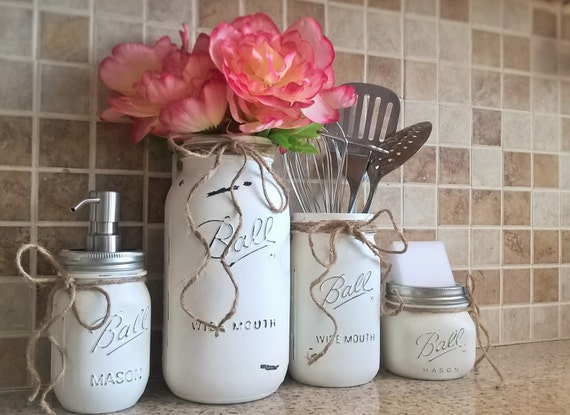 Mason jar kitchen set housewarming gift mason jar decor mason for Kitchen jar ideas