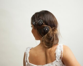 3 Piece Hair Clip Set - Black Flowers | Spring Festival Party Fairy Boho Bobby Pins Halloween