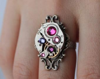 Rose steampunk vintage ring