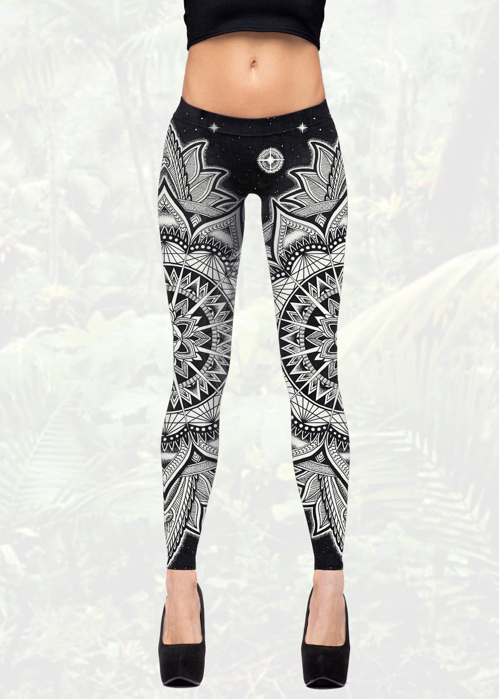 Cosmic Mandala Leggings Women's Black And White Yoga