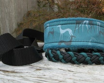 Sight Hound Pattern Fleece Lined Martingale Dog Collar Leash Combo & Coordinating Paracord Tag Collar, Slip Off, Greyhound, Whippet, Saluki