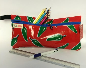 ON SALE  Oilcloth Zip Pouch, Red with green chillies, diary/folio pouch, pencil case for ruler