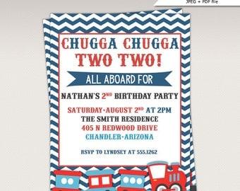 Choo Choo Train Birthday Party printable invitation - Chugga Chugga Train Birthday Party Invite #457