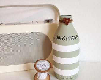 Hand painted striped pint glass milk bottle
