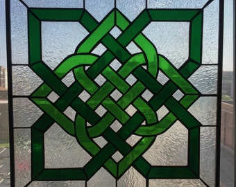 Square stained glass celtic knot
