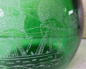 Vintage Green Etched Bottle 1977 signed G. deFure Sailing Ship
