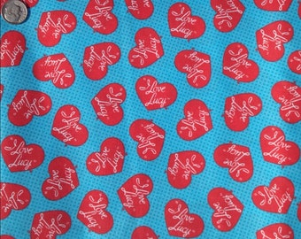 "VIP ""I Love LUCY"", Lucilla Ball - Hearts ~ 100% Cotton Fabric Fat Quarter/ FQ for Crafts & Quilting"