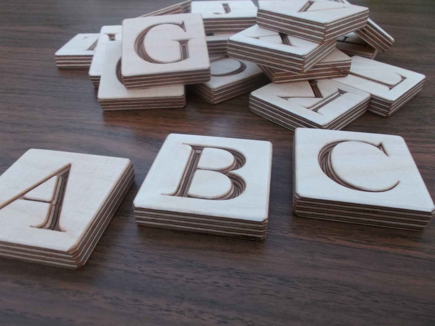 Abc blocks wooden english alphabet blocks by woodpeckerlg for Greek wooden block letters