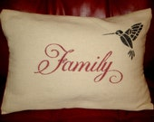 Canvas Stencil Pillow, Family - Hummingbird