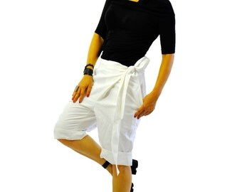White linen short pants/Woman summer pants/Casual 100% linen pants/White Loose short pants/Asymmetrical pants/handmade beach pants/P1394