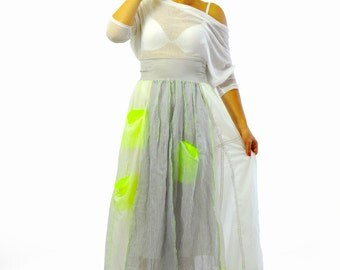 Long Extravagant skirt/White summer Original Parachute fabric /Woman skirt/Asymmetrical long white skirt with pockets/Casual skirt/S1399