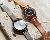Engraved Ladies' Mesh Strap Watch (Small Mesh, 3 line)