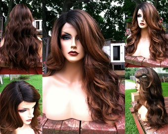 Ombre Lace Front Wig // Auburn Brown Curly + Heat SAFE // Wavy Black Dark Roots // Deep Lace Part