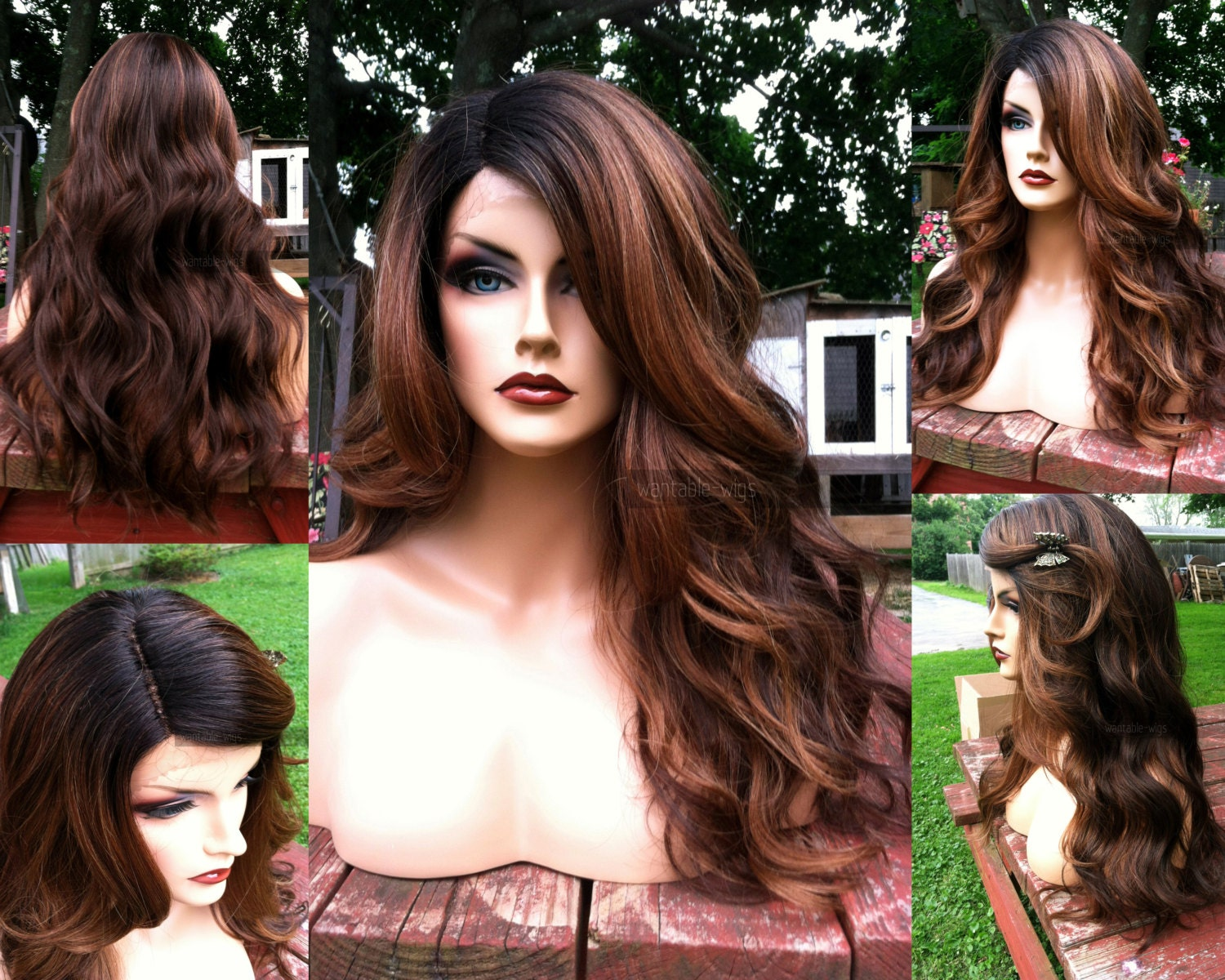 Ombre Lace Front Wig // Auburn Brown Curly Heat SAFE // Wavy