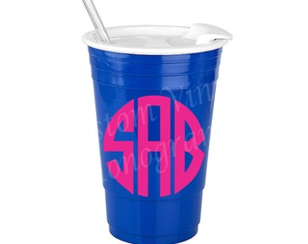 SALE * Monogrammed 30 oz Royal Blue Big Gulp Insulated Solo Cup with Slide Open Lid & Straw / Personalized Insulated Solo Cup  / Solo Cup