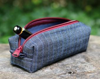 Manly, Rustic Zipper Case - Denim bag, Burgundy Zipper with pull tabs, Vinyl lining - Pipe Case, Razor Bag, Pen Pouch, Carry Case, Duffel
