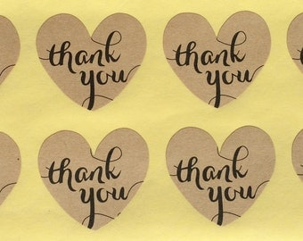 Thank You Stickers.Thank you hearts.Envelope seals, invitations, thank you cards/notes.Wedding, bridal/baby shower, engagement party. Kraft.