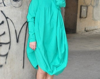 Womens Tunic, Green Loose Tunic with Long Sleeves, Maxi Green Oversize Tunic, Green Loose Blouse by EUGfashion