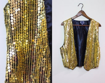 Vintage Gold Sequin Vest