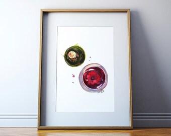 Wine Watercolor Print - Bird's Eye View Wine Art - Wine Art