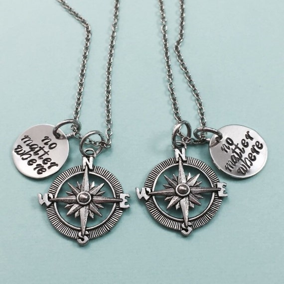 best friend necklace no matter where compass charm by
