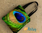 Peacock Feather Bag - Peacock tote bag - Peacock Feather Photograph - Feather Tote Bag - blue and green tote bag - Peacock bag - 15x15 tote