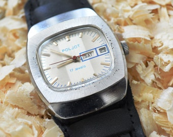 Vintage Mechanical Wrist Watch 'POLJOT'. Rare Dial . Day Date Watch 'Poljot'. 17 Jewels.
