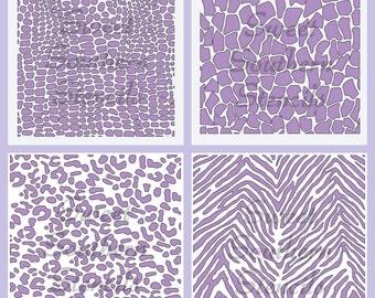 Animal Print Stencils (4 separate Stencils)