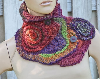 Unique scarf Crochet  Scarf Capelet Neck Warmer  Brown Green purple Chunky Knit  Freeform Crochet  one of a kind gift