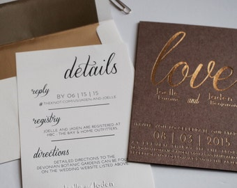 Wedding Invite - Set of 100 - Kraft Paper & Gold Foil wedding Invitation, Gold Foil Wedding Invitation