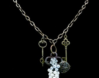 Brass Pearl-Wrapped Key Necklace